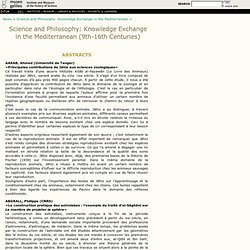 Abstracts - Science and Philosophy: Knowledge Exchange in the Me