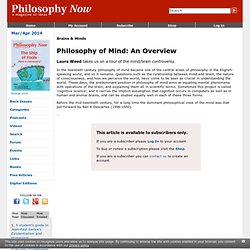 Philosophy of Mind: An Overview | Philosophy Now