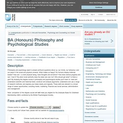 B43 - BA (Honours) Philosophy and Psychological Studies