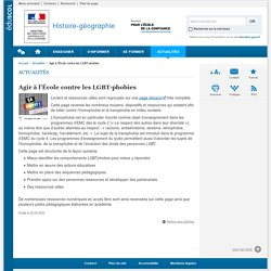 Agir à l'École contre les LGBT-phobies-Histoire-géographie-Éduscol