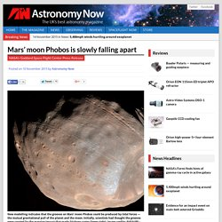 Mars' moon Phobos is slowly falling apart