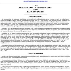 THE THEOLOGY OF THE PHŒNICIANS: FROM SANCHONIATHO.