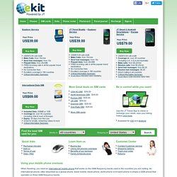 ekit, phonecards, prepaid sim cards and international cell phones for international travelers