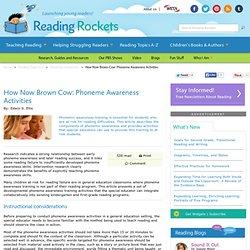 How Now Brown Cow: Phoneme Awareness Activities