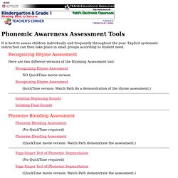 Phonemic Awareness Assessment Tools