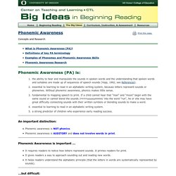 Phonemic Awareness: Concepts and Research