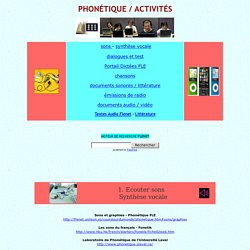 FLE phonétique, activités, exercices, audio, vidéo