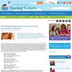 Phonological Awareness: Instructional and Assessment Guidelines