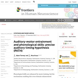 Auditory-motor entrainment and phonological skills: precise auditory timing hypothesis (PATH)