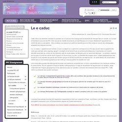 Projet Phonologie du Français contemporain - Le e caduc