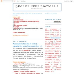 Phonologie maternelle et cycle 2 / travailler les sons (fiches, exercices ...)