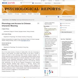 Phonology and Access to Chinese Character Meaning