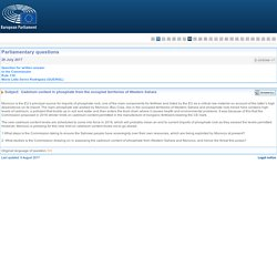 PARLEMENT EUROPEEN - Réponse à question E-005098-17 Cadmium content in phosphate from the occupied territories of Western Sahara