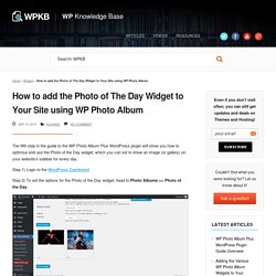 How to add the Photo of The Day Widget to Your Site using WP Photo Album - WP Knowledge Base WP Knowledge Base