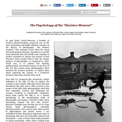 Photographic Psychology: The Decisive Moment