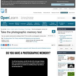 Take the photographic memory test