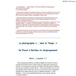La photographie «… dans le Temps» : de Proust à Barthes et réciproquement
