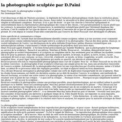la photographie sculptée - Henri Foucault