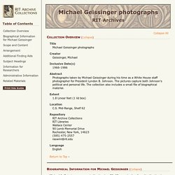 Guide to the Michael Geissinger photographs, 1966-1986 – RIT Archive Collections