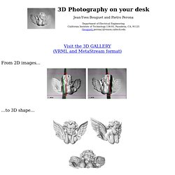 3D Photography on your desk - ICCV98 - Jean-Yves Bouguet - 3D scanner - 3D scanning - Shadow scanner - Shadow scanning