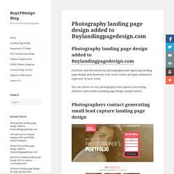 Create your online presence with photography landing pages