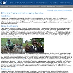 Ethics and Photography in Developing Countries