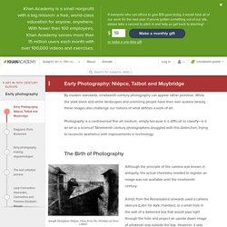 Early Photography: Niépce, Talbot and Muybridge