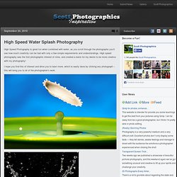 High Speed Splash Photography