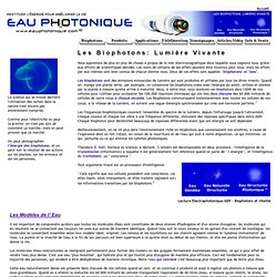 Eau Photonique - Les Biophotons la lumière vivante