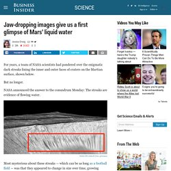 Photos of water on Mars