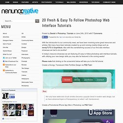 20 Fresh & Easy To Follow Photoshop Web Interface Tutorials