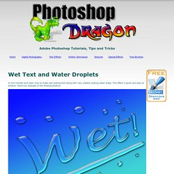 Photoshop Tutorial: Wet Text and Water Droplets