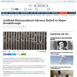 Artificial Photosynthesis Advance Hailed As Major Breakthrough