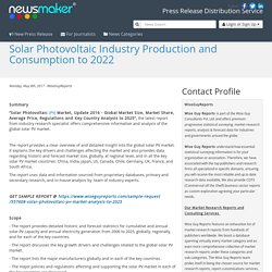 Solar Photovoltaic Industry Production and Consumption to 2022