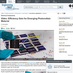 Video: Efficiency Gain for Emerging Photovoltaic Material