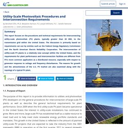 Utility-Scale Photovoltaic Procedures and Interconnection Requirements - Wiki Cleantech