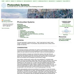 SustainableSources.com: Photovoltaic Systems
