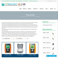 Jual HT Italia Photovoltaic Tester and I-V Curve Tracer Indonesia
