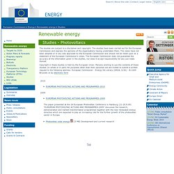 Energy: Studies - Photovoltaics - European commission