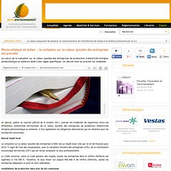 Photovoltaïque et éolien : la cotisation sur la valeur ajoutée des entreprises est précisée