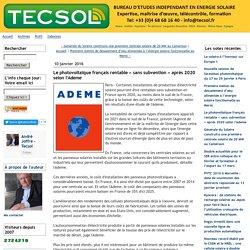 Le photovoltaïque français rentable « sans subvention » après 2020 selon l'Ademe