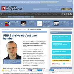 PHP 7 arrive et c'est une bombe