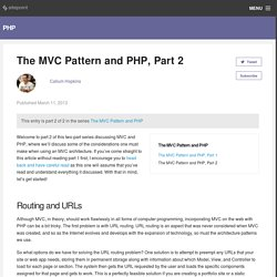 The MVC Pattern and PHP, Part 2