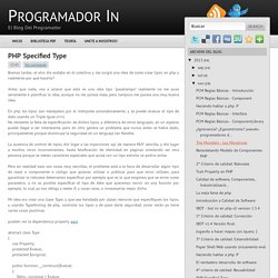 PHP Specified Type - Programador In