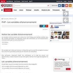PHP - Les variables d'environnement