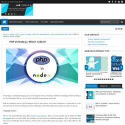 PHP Vs Node.js, Which is Best?