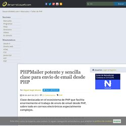 PHPMailer potente y sencilla clase para envío de email desde PHP