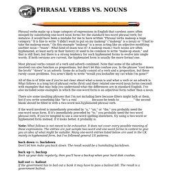 phrasal verbs vs. nouns