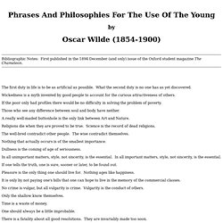 Phrases And Philosophies - Oscar Wilde