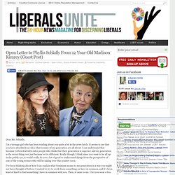 Open Letter to Phyllis Schlafly From 12 Year-Old Madison Kimrey (Guest Post)